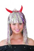 Deluxe Tinsel Wig with Horns