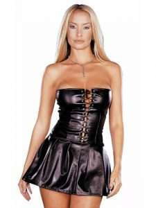 Black Leather Look Lace Up Mini Dress