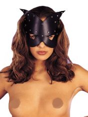 Black Leather Look Cat's Eyes Mask
