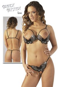 Butterfly Set-Black Peephole bra & Crotchless Thong