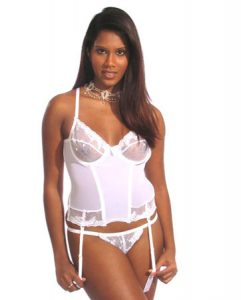 White and  Silver Bustier with Matching Thong