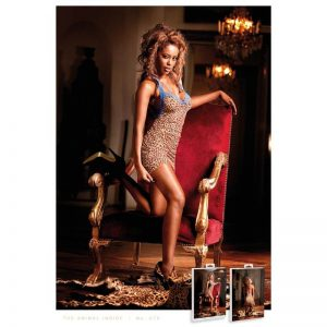 Baci Lingerie Leopard Print Blue Lace Halter Dress