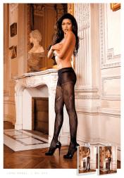 Baci Lingerie Black Control Top Jacquard Pantyhose/Tights
