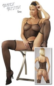 Black Fishnet Basque Set With G-String & Stockings
