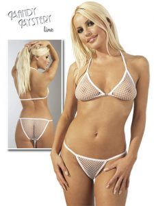 White Fishnet Bikini Set
