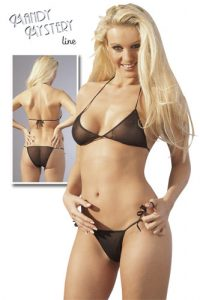 Black Tull/Fishnet Bikini Set
