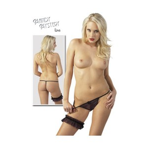 Black & Purple G- String with Garter
