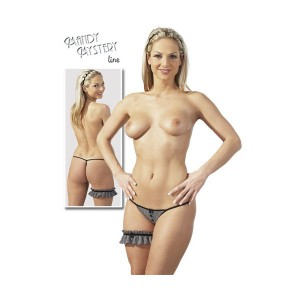Black & Silver G String with matching Garter