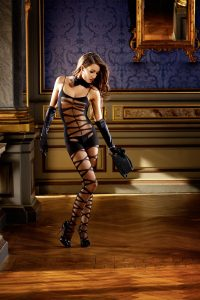 Baci Black Sheer Jacquard Bodystocking